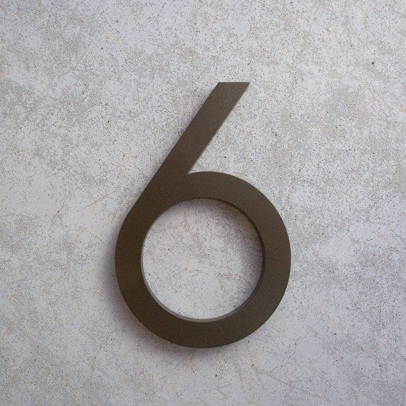 $33.99 6 Tall Number SIX 6 Number is made from recycled 3/8 aluminum. Each number has a Bronze powder coated finish with a clear protective coating