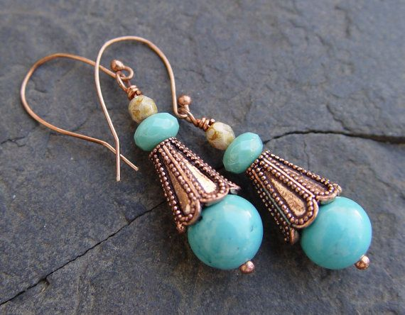 Turquoise and Copper Dangle Earrings with Picasso by jeanawells, $19.50