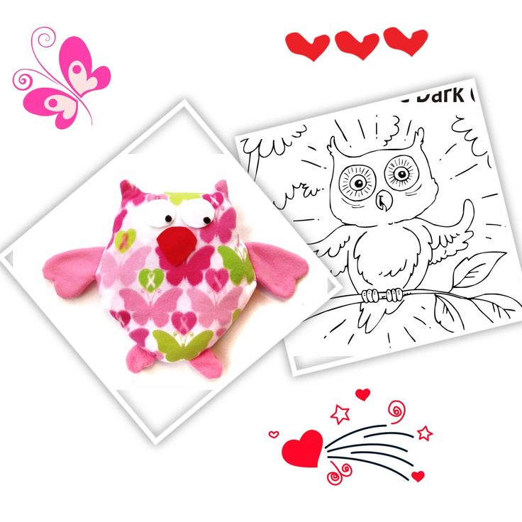 Owl Sewing Pattern, includes coloring storybook, Glow in the Dark Owl, $9.99