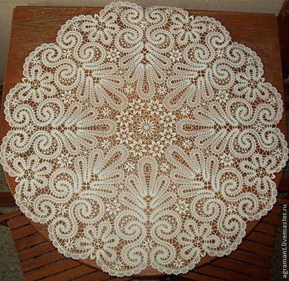 Текстиль, ковры ручной работы. Ярмарка Мастеров - ручная работа. Купить Скатерть д.90 см. Вятское кружево. Handmade.