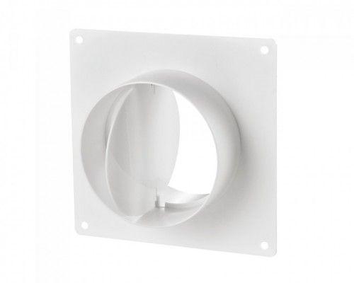 Conector cu flansa perete si clapeta antiretur tub circular Blauberg PlastiVent - Diametru 125mm