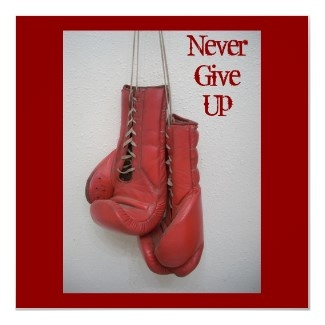 Never Give Up, Boxing Gloves Framed Print