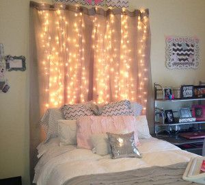 15 DIY Curtain Headboard With Christmas Lights | Home Design And Interior