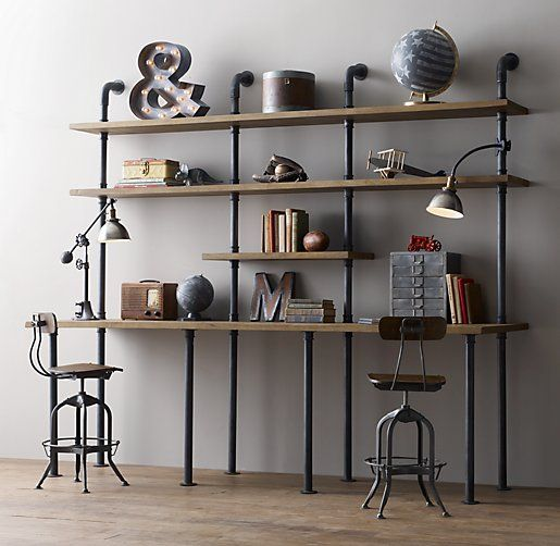 industrial+pipe+desk | Industrial Pipe Double Desk & Shelving