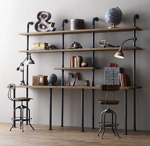 industrial+pipe+desk   Industrial Pipe Double Desk & Shelving