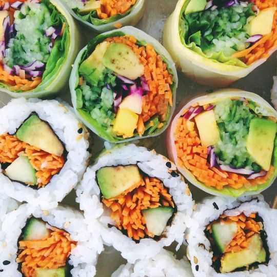 California veggie rolls: Carrots, cucumber and/or chard, avacado, pickled radish, red cabbage
