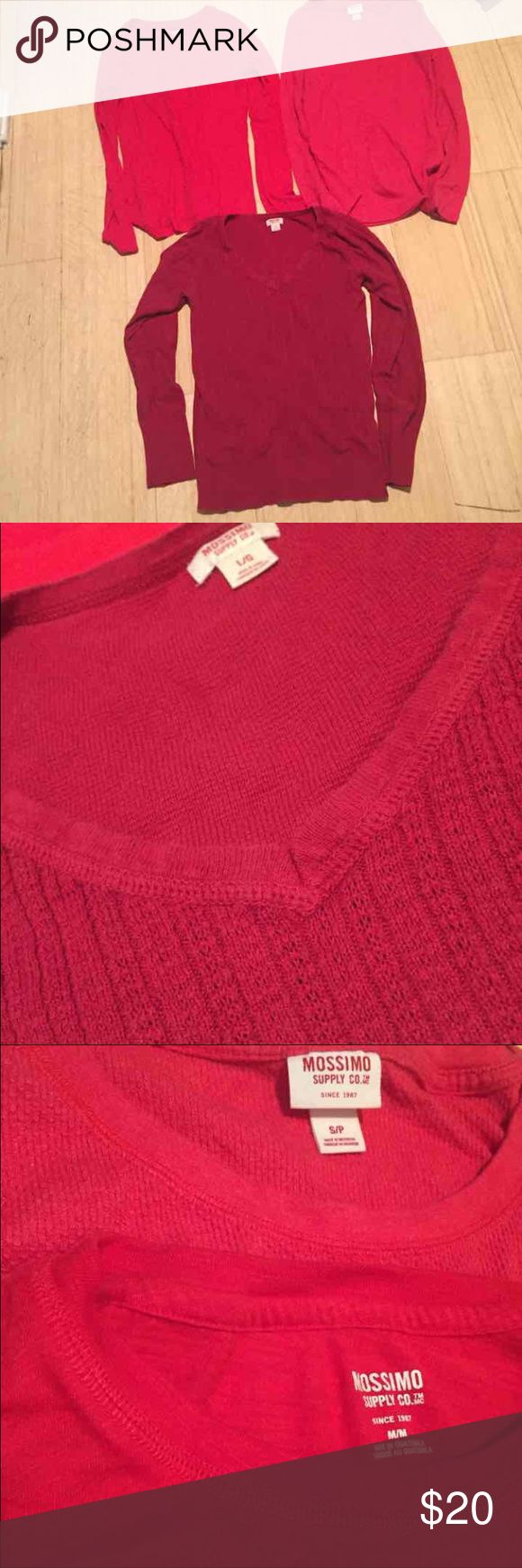 3 red long sleeve tops mossimo target Item description: Lot of 3 red long sleeve tops. One thermal in good condition, one regular long sleeve in great condition, one red v neck sweater in ok condition (pretty nice still, just a little more worn than other 2) sizes S, M and L but they all fit me and I'm a S-M Last photo shows the red size s thermal Mossimo Supply Co Tops Tees - Long Sleeve