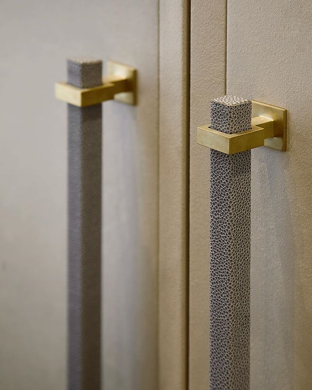 Details From The Previous Post Of The Suede Wardrobe Doors With A Bevelled Edge Detail And Shagreen Wardrobe Door Handles Door Handles Interior Wardrobe Doors