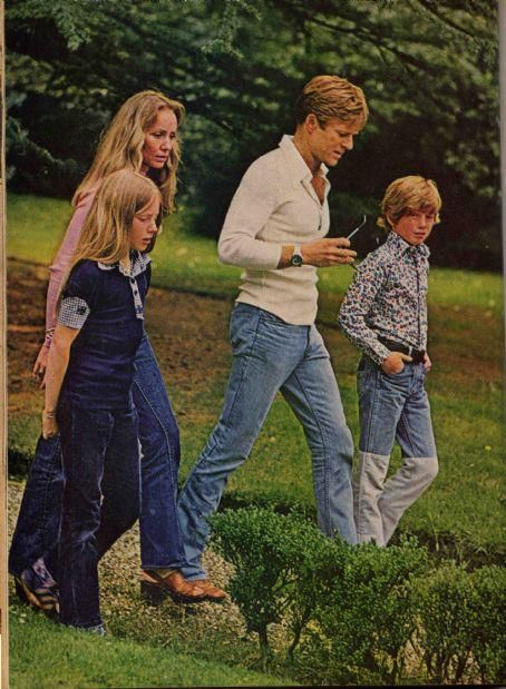 Robert Redford and family, in the 1970s