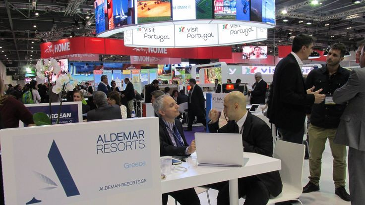 more networking on Aldemar Resorts booth World Travel Market - Vassilis Fragoulakis Commercial Director @ Aldemar  Resorts and Sof Michaels from ReviewPro