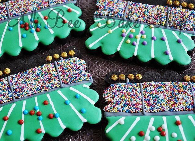 These are amazing!!  Stadium decorated cookies.  (Go Ravens)