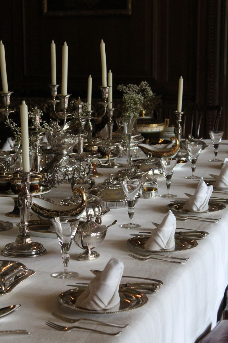 Luxury silver table setting.
