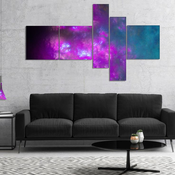 Designart 'Purple Starry Fractal Sky' Abstract Canvas Art Print