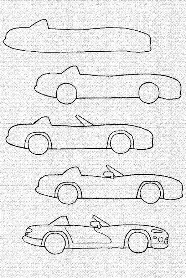 How To Draw A Cartoon Car Step By Step Tutorial In 2020 With