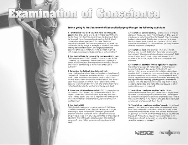 examination of conscience for teens | Middle & High School ...