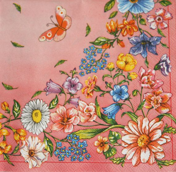 Decoupage paper napkins. Flower & butterflies by Napkintime