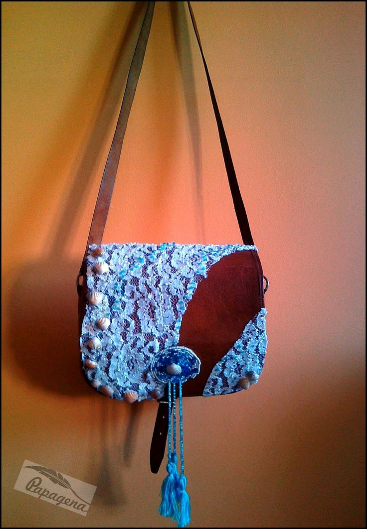 bohemian, boho bag, lace, shells, beads