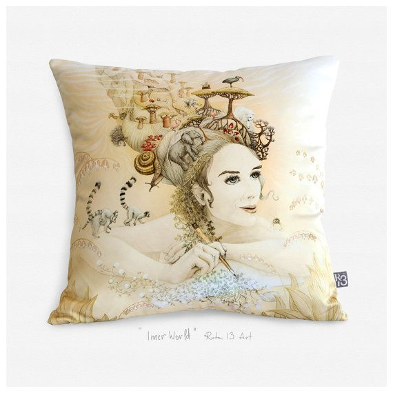 Inner World Satin glossy luxurious artistic throw pillow by RUTA13