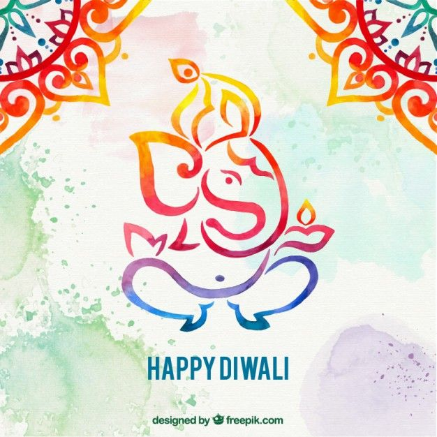 Watercolor Diwali Elephant Background