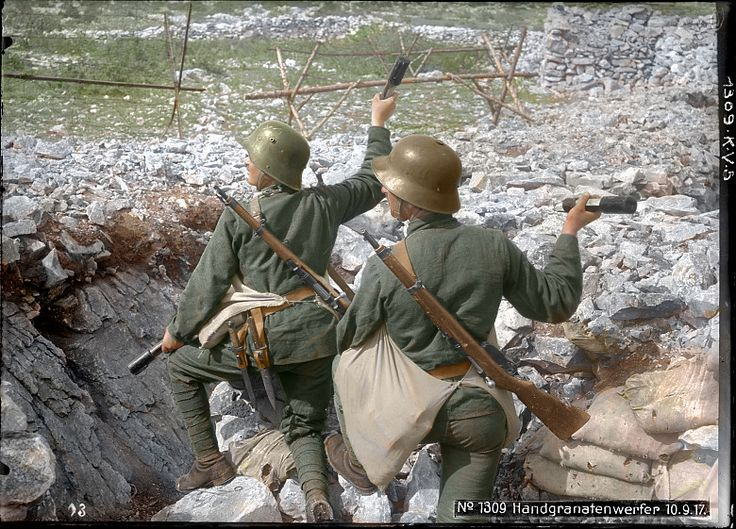 Austro-Hungarian Stormtroops armed with Mannlicher M95 Stutzens at the Isonzo front in 1917 (colorized).