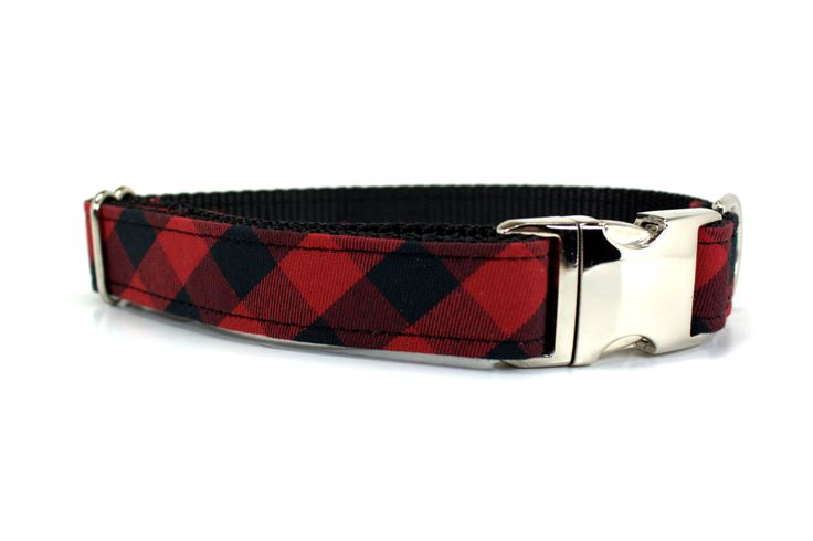 Red Buffalo Plaid Dog Collar with Metal Buckle / Red and Black Plaid Dog Collar / Holiday Dog Collar - pinned by pin4etsy.com