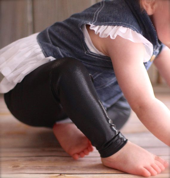 CUTEST LEGGINGS EVER!  Faux Leather Black Baby Leggings  Skinny FitSoft by Saravadesigns, $20.00