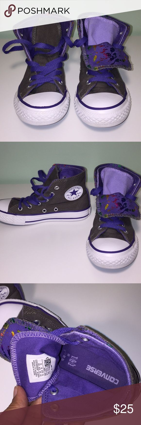 Girls High Top Converse Fun purple and grey with metallic details Converse Shoes Sneakers