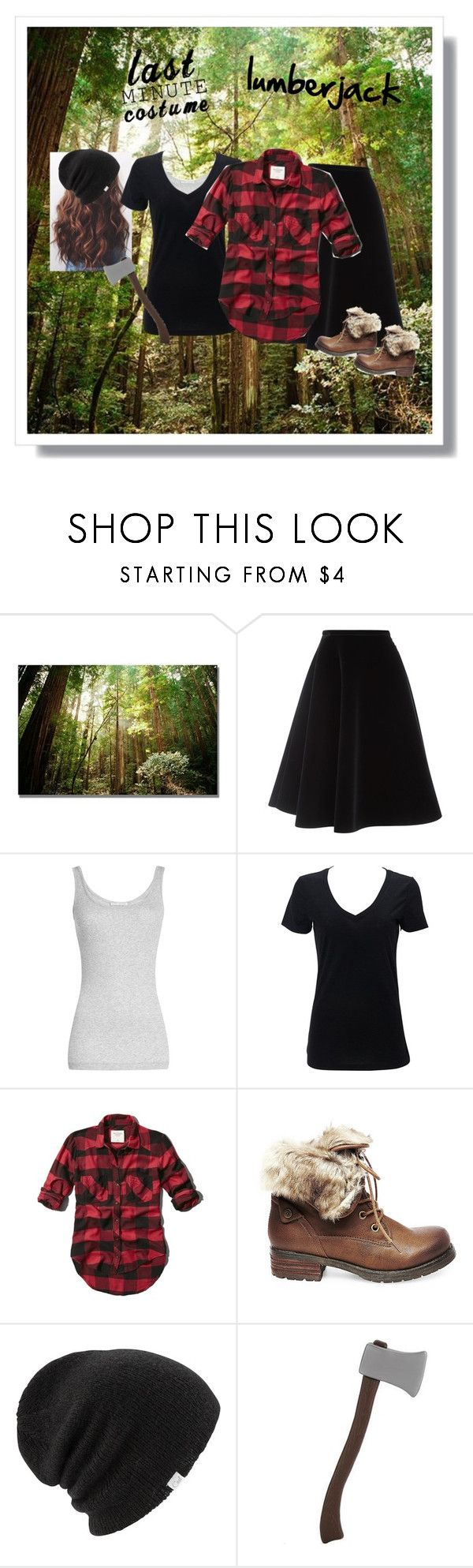 """Lumberjack costume 🌲"" by dominiquemcain ❤ liked on Polyvore featuring Trademark Fine Art, N°21, Vince, Simplex Apparel, Abercrombie & Fitch, Steve Madden, Coal, country and lastminutecostume"