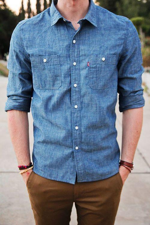 Men's Blue Denim Shirt, Tobacco Chinos