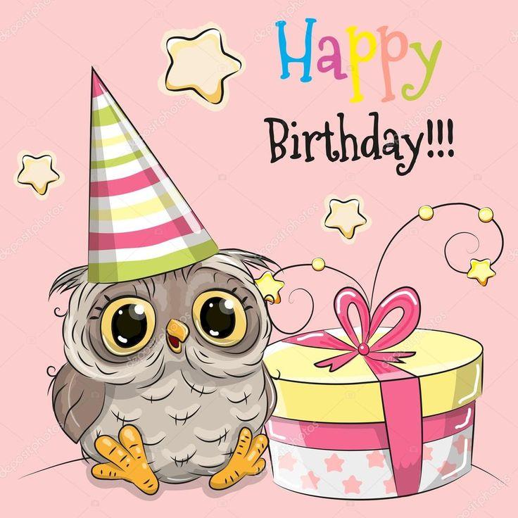 Красивые открытки с днем рождения с совой, сердечки