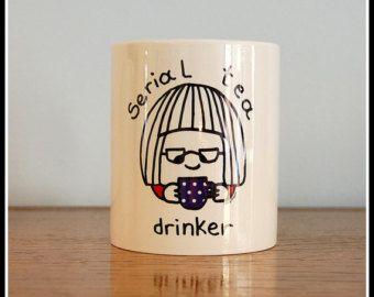 Serial Tea Drinker- Koumpaki Cute Ceramic Mug/ Doodle Ceramic Mug/ Illustrated Ceramic Cute Girl Mug/ Little Girl Drinking Tea Mug*