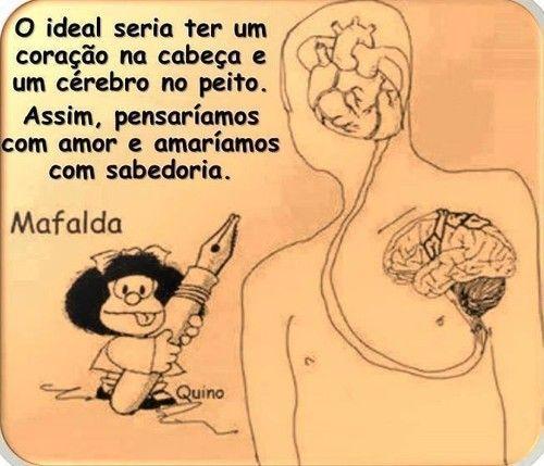 A Mafalda no Facebook - O ideal seria ter um coração na cabeça e um cérebro no peito - Pontos de vista