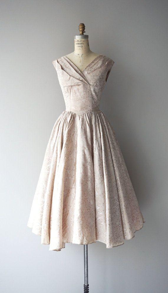 Pale Quartz dress brocade 50s dress vintage 50s by DearGolden