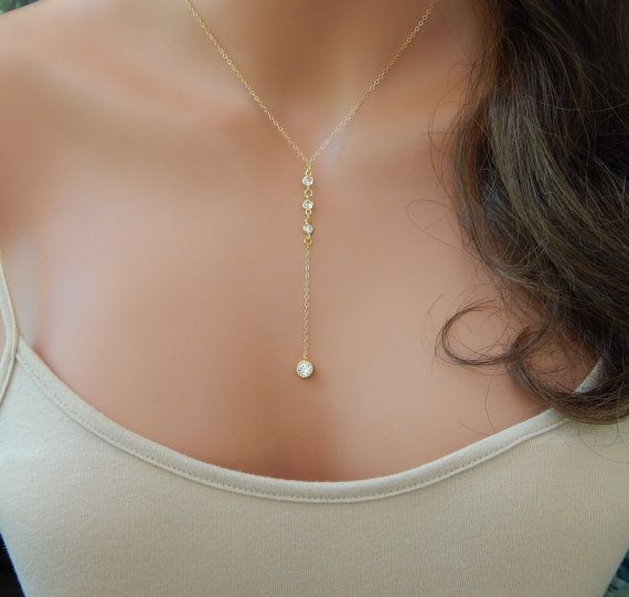 Gold CZ Lariat Necklace, Gold Diamond Y Necklace, Girlfriend Gift, Wedding Lariat Necklace, Minimal Necklace [508]