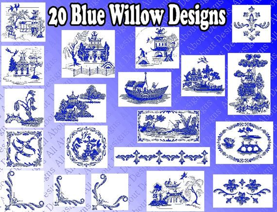 Beautiful Blue Willow Machine Embroidery Design By Allaboutdesigns 5 00 Designs
