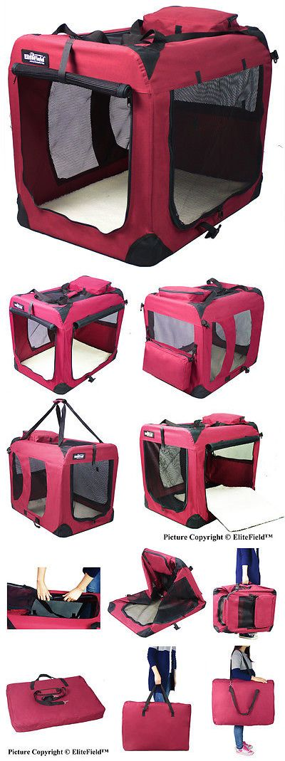 Cages and Crates 121851: Elitefield Maroon 3-Door Folding Soft Dog Crate Cage Kennel 4 Sizes -> BUY IT NOW ONLY: $75.99 on eBay!