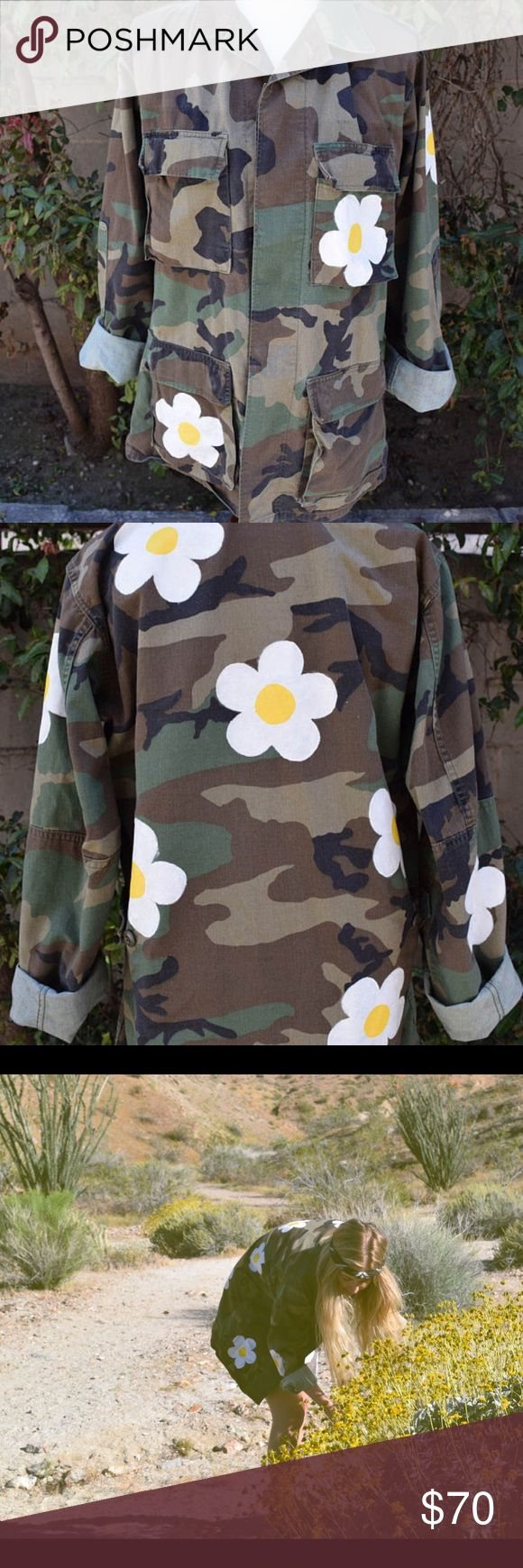Selling this 🌼Vintage Daisy Camouflage Jacket 🌼 on Poshmark! My username is: thelittlegypsy1. #shopmycloset #poshmark #fashion #shopping #style #forsale #Free People #Jackets & Blazers