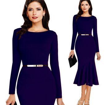 Vestido de  fiesta estilo europeo de color en azul oscuro sexy  en forma de sirena