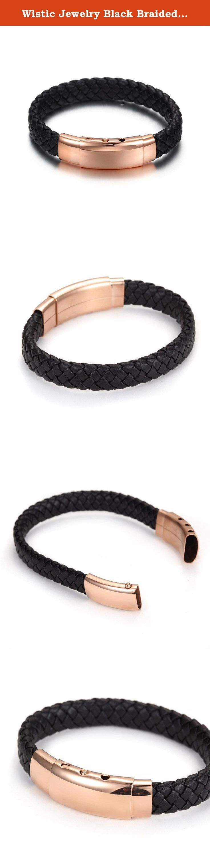 "Wistic Jewelry Black Braided Leather Bracelet for Men Genuine Leather Wristband with Clasp, 8.6"". The benefit of Stainless Steel Jewellery: Stainless Steel Jewellery does not tarnish and oxidize, which can last longer than other jewelries. It is able to endure a lot of wear and tear. And it is amazingly hypoallergenic. Such advantages make it a more popular accessory. Wistic Jewellery Service: Simply wash your product in warm water and soap or detergent, rinse and dry with a soft cloth as..."