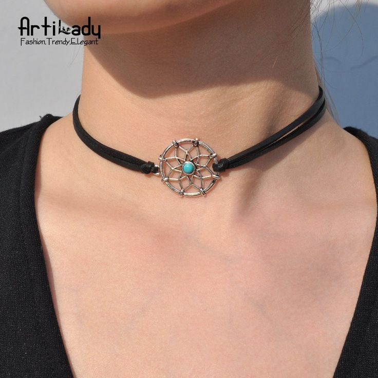 Leather choker necklace fashion turquoise silver choker for women