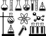 Chemical laboratory equipment - test tubes, flasks and measuring glass vector image