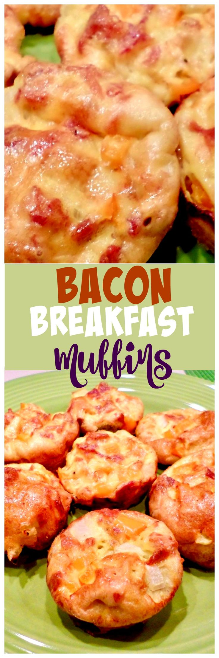 Bacon Breakfast Muffins - make them ahead of time for those busy mornings! #eggs #bacon #muffins 3muffin #makeahead #breakfast #breakfastidea