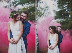 Colored Smoke Wedding, Color Bomb Photography