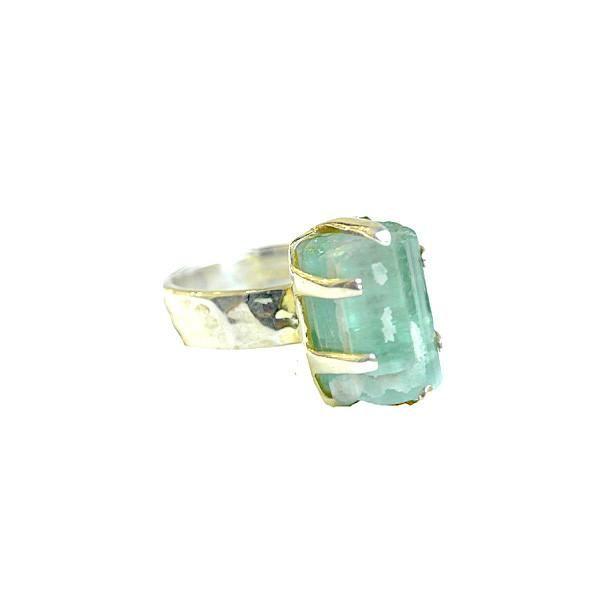 Large Green Tourmaline Crystal Ring