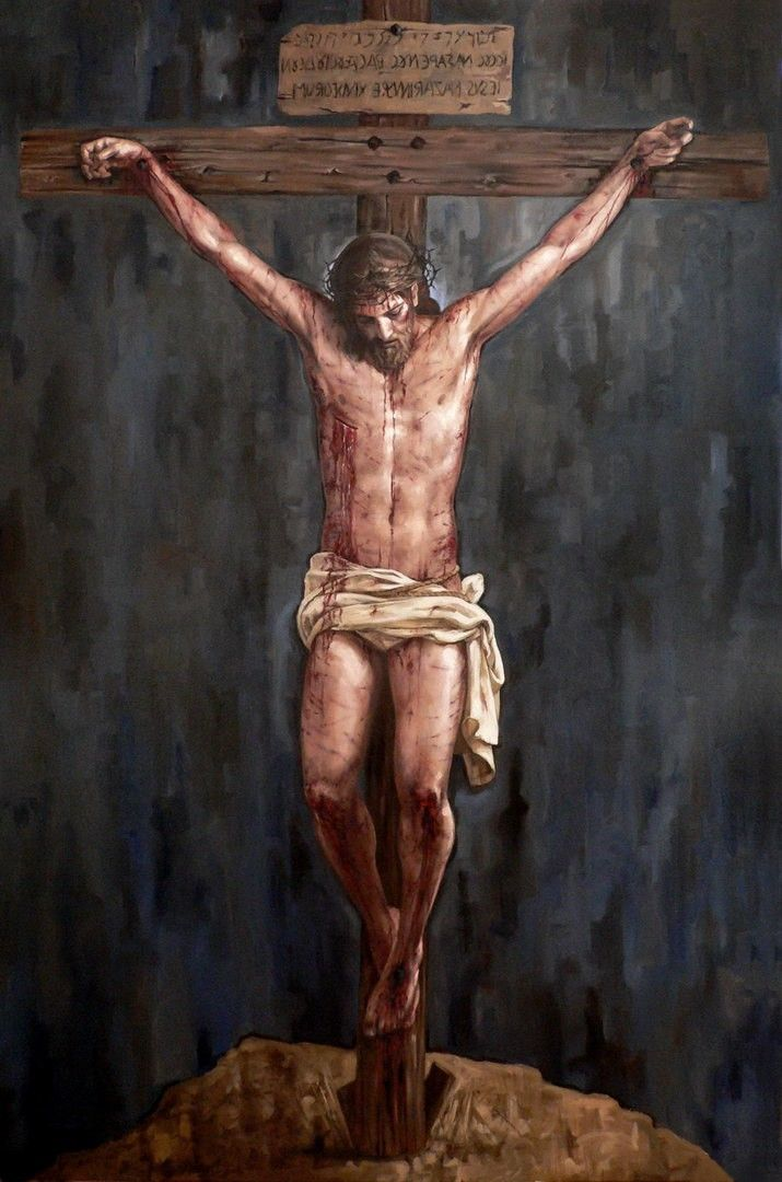 WRONG Now all of the paintings that show Jesus on the Cross have him hanging in this Y position and lower to the ground. He was always raised higher in accordance with the shape of the cross with his body in a T position. His head was always equal/ above the horizontal crossing.