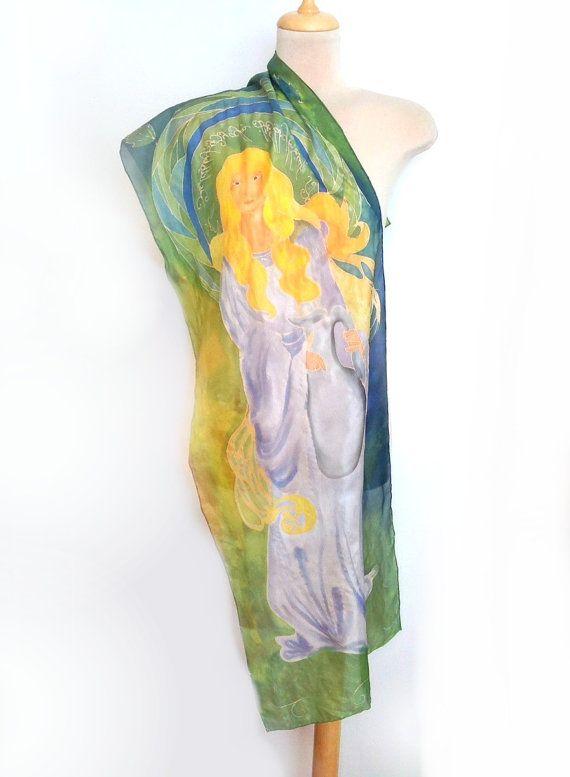 Galadriel silk scarf Elven princess scarf LOTR by AndreaSilk
