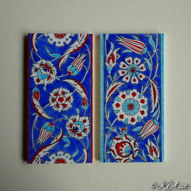 """~~~~~~~~~~~~~~~~~~ Iznik tiles after firing.(my work) 10x20cm İyi akşamlar... 焼成後のタイルです。 ~~~~~~~~~~~~~~~~~~~~~~~~~~~~~ #design #drawing #ceramics #pottery…"""