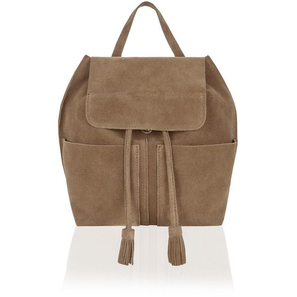 Accessorize Rosie Leather Festival Backpack (£79) ❤ liked on Polyvore featuring bags, backpacks, leather daypack, draw string backpack, leather drawstring backpack, leather rucksack and brown backpack
