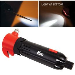 L722: The Mechanic  3-LED flashlight and multi tool  Includes auto safety window breaker andseatbelt cutter  Multi tool is complete with 6 tool bits  Features a pinhole light for tool guidance  Versatile product is ideal for both auto safety and do-it-yourself projects  Runs on 2 AAA batteries (included)
