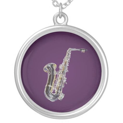 Saxophone cartoon necklace